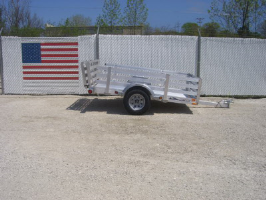 Triton AUT10-64 All Aluminum Utility Trailer With B--Fold Ramp Gate & Aluminum Stake Sides
