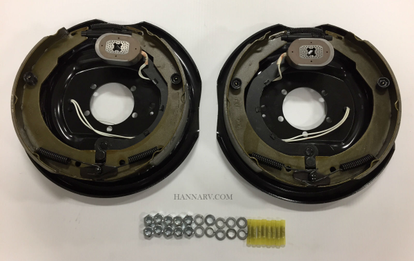 12 Inch x 2 Inch Electric Trailer Brake Assemblies - 1 Left Hand and 1 Right Hand - Hardware and Con