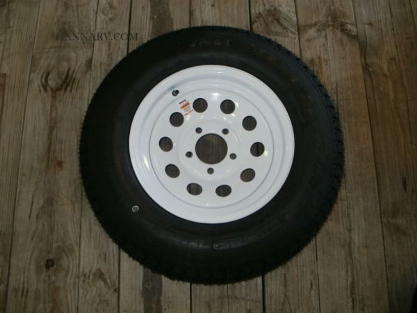 Load Star 205-75-D14 C Class Tire And 5 Hole Wheel Assembly Mod Rim - Single - White