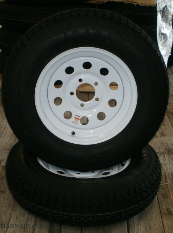 Load Star 205-75-D15 C Class Tire And 5 Hole Wheel Assembly Mod Rim - Pair - White