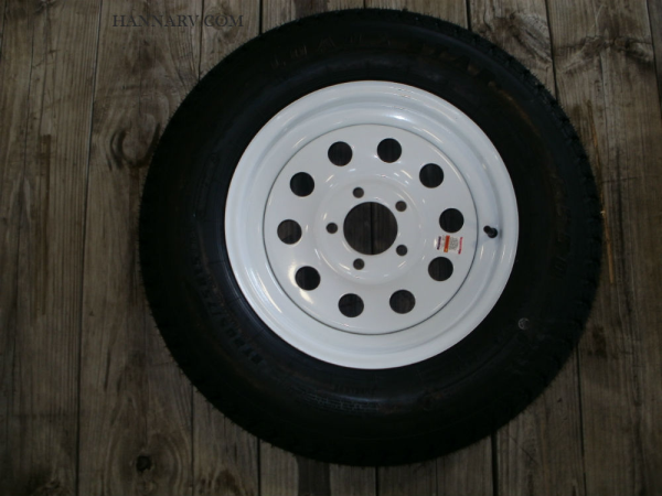 Load Star 205-75-D15 C Class Tire And 5 Hole Wheel Assembly Mod Rim - Single - White Painted Finish
