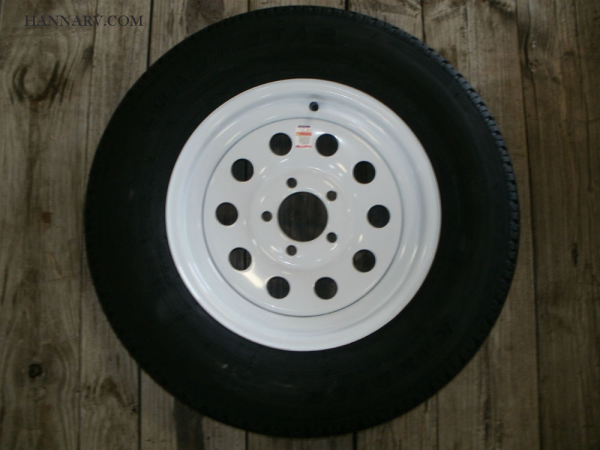 Load Star 205-75-R15 C Class Tire And 5 Hole Wheel Assembly Mod Rim - Single - White