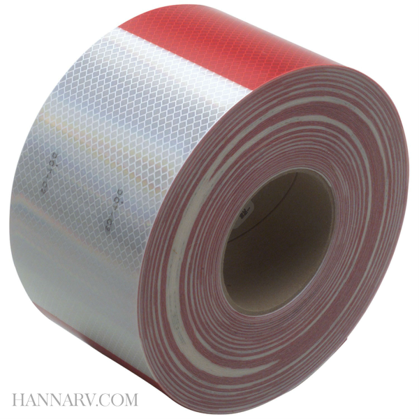 3M 22495 Conspicuity Tape 11 Inch Red x 7 Inch White Kisscut - 150 Foot Roll