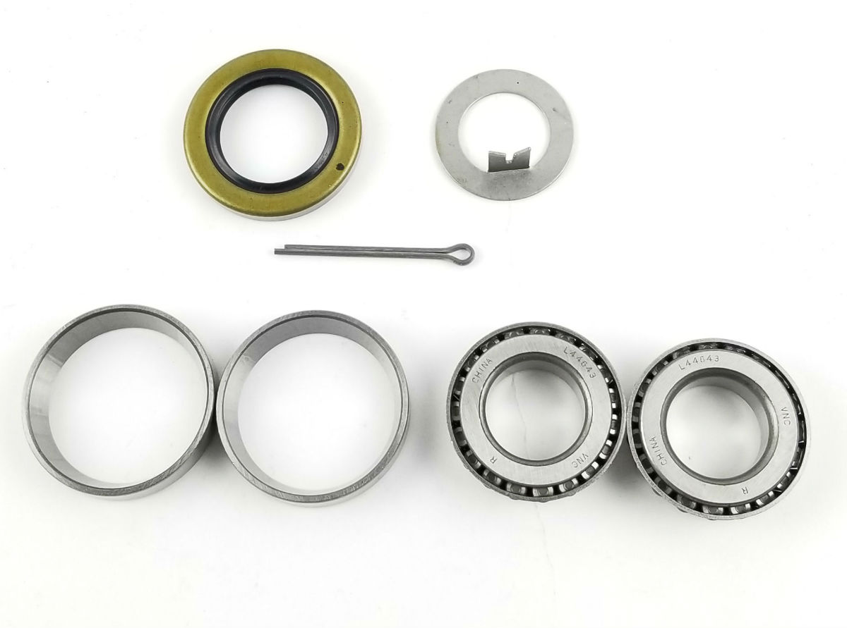 "Coleman / Fleetwood Pop Up Camper Bearing Kit for 1"" BT8 Spindle, L44643 Inner/Outer Bearings, 34823 Seal"