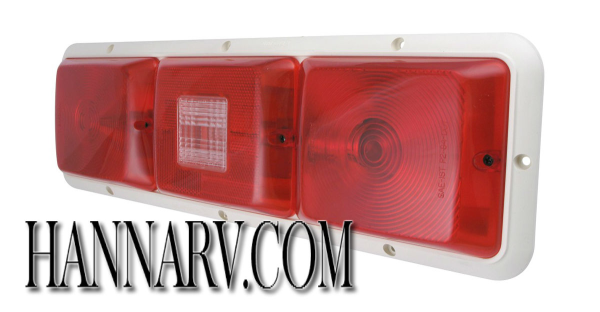 Bargman 30-84-101 #84 Series Recessed Triple Long Tail Lights with Backup Light - Red with White Bas