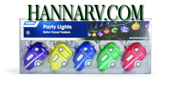 Camco 42655 Retro Travel Trailers Party Lights - RV Trailer Camper Party Lights - Set of 10