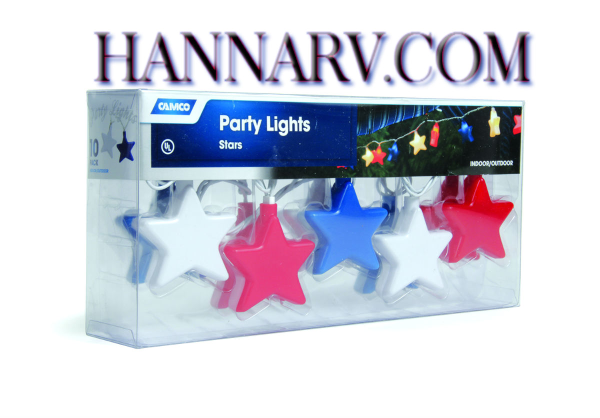 Camco 42656 RV Trailer Camper Patriotic Stars Party Lights - Set of 10