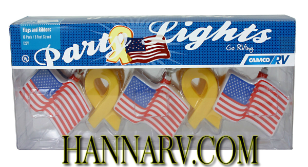 Camco 42657 USA Flags and Yellow Ribbons Party Lights - Set of 10