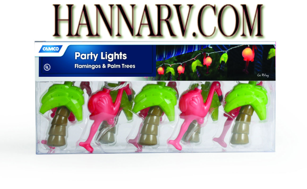 Camco 42662 Flamingos and Palm Trees RV Party Lights - Set of 10