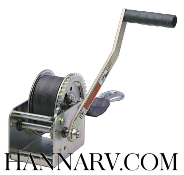 Dutton-Lainson 15007 DL900A Trailer Hand Winch With 15 Foot Strap - 900 Lbs Capacity - 3.2:1 Gear Ra