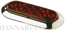 Innovative Lighting 261-4400-7 Oval 6-inch LED Surface Mount Tail Light With Red Lens And Chrome Rin