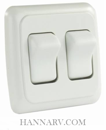 JR Products 12015 Double Rocker Switch Assembly with Bezel - White