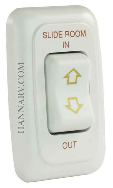 JR Products 12075 Single Slide-Out Switch Assembly with Bezel - White