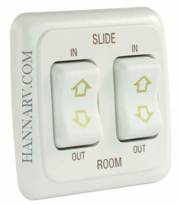JR Products 12085 Double Slide-Out Switch Assembly with Bezel - White