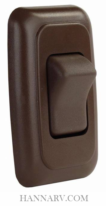 JR Products 12135 Single Rocker Switch Assembly with Bezel - Brown