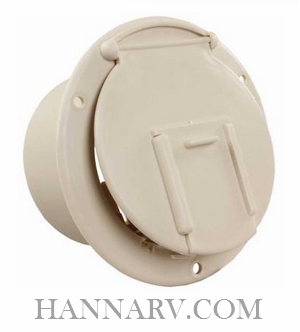 JR Products 370-1-A Round Electric Cable Hatch - Colonial White