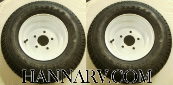 Load Star 20.5 X 8-10 C Class Tire And 5 Hole Wheel Assembly - Pair - White Painted Finish