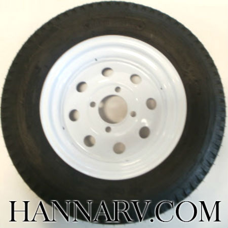 Load Star 5.30 X 12 C Class Tire And 4 Hole Wheel Assembly Modified Rim - Single - White Painted Fin