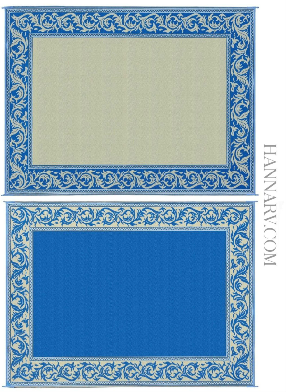 Mings Mark RA3-BLU/BEIGE Classic Reversible RV Awning Patio Rug Mat - 9 x 12 Feet - Blue/Beige