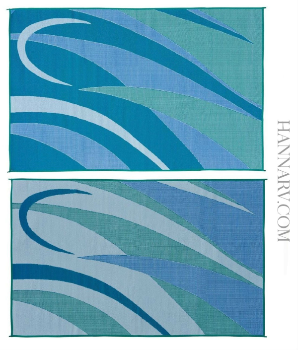 Mings Mark GA3-BLU/GRN Graphic Reversible RV Awning Patio Rug Mat - 8 x 12 Feet - Blue/Green