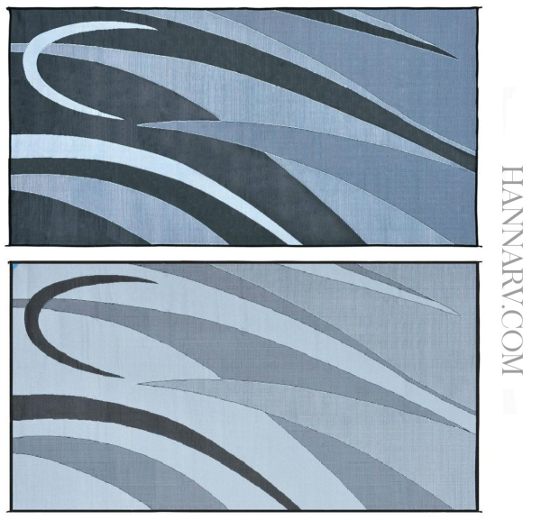 Mings Mark GB1-BLK/SLVR Graphic Reversible RV Awning Patio Rug Mat - 8 x 16 Feet - Black/Silver
