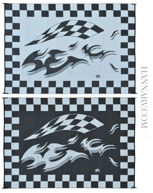 Mings Mark HA1-CHECKERED 8 x 12 Black Checkered Flag Patio Mat