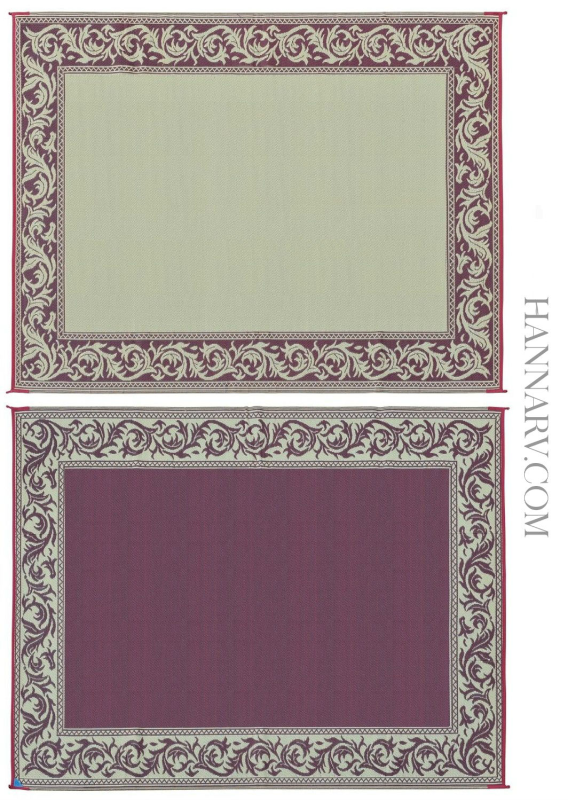 Mings Mark RA5-BURG/BEIGE Classic Reversible RV Awning Patio Rug Mat - 9 x 12 Feet - Burgundy/Beige