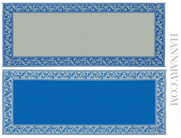Mings Mark RC3-BLU Classic Reversible RV Awning Patio Rug Mat - 8 x 20 Feet - Blue/Beige