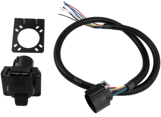 Pollak / Stoneridge RV OEM 7-Way Socket with 4 Foot Wiring Harness and Mounting Bracket