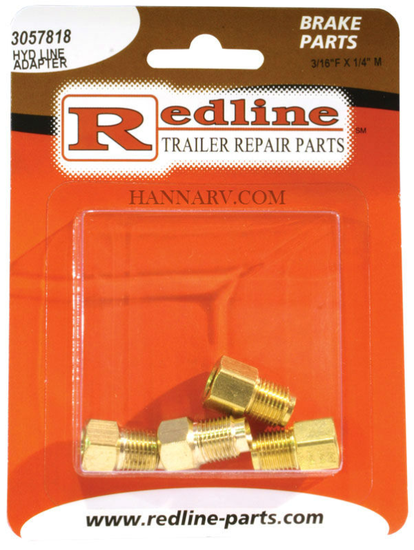 Redline 3057818 3/16 Inch Female x 1/4 Inch Male Hydraulic Line Adapter - Package of 4