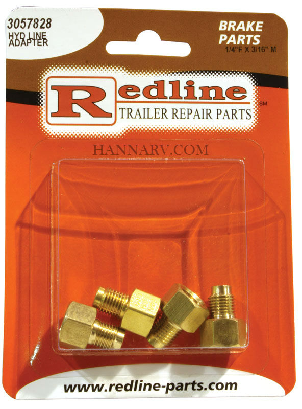 Redline 3057828 1/4 Inch Female x 3/16 Inch Male Hydraulic Line Adapter - Package of 4