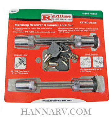Redline TM32 Keyed Alike Hitch Lock and Lock for Yoke Type Couplers