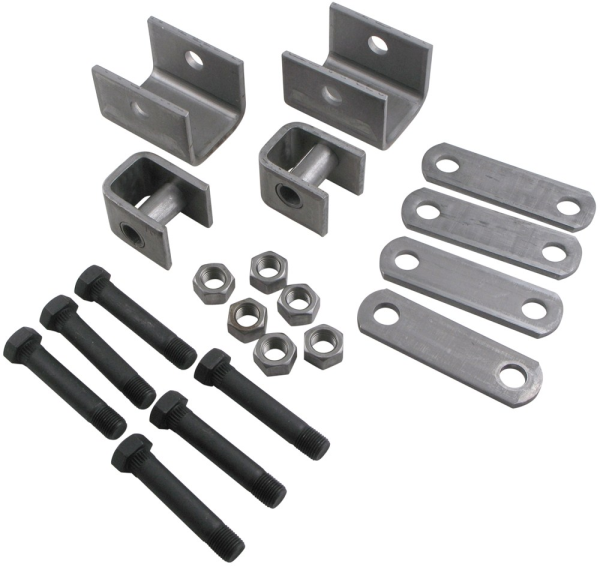 Single Axle Hanger Kit - APS1 - Boxed 1.75 Inch Double Eye Spring Hanger Kit - Rear Hanger with Stee