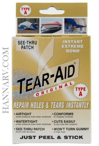 Tearepair Inc. D-BOX-A-100 Tear-Aid Type A 3 Inch x 12 Inch Non-Vinyl Tearepair Inc. D-BOX-A-100 Tea