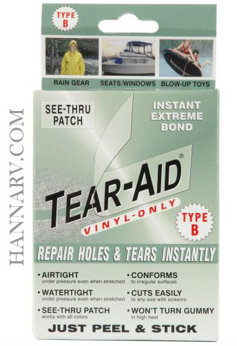 Tearepair Inc. D-BOX-B-100 Tear-Aid Type B 3 Inch x 12 Inch Vinyl Only See Thru Patch Kit