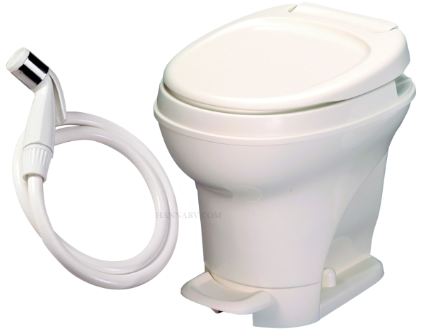 Thetford 31680 Aqua Magic V Parchment High Foot Flush RV Toilet With Sprayer