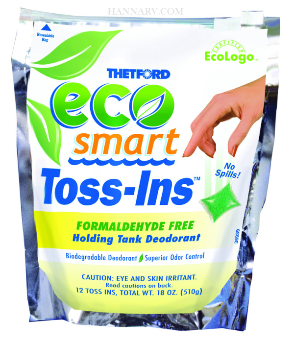Thetford 32952 Eco-Smart Toss-ins Holding Tank Deodorant Formaldehyde Free Formula - 12 Count Bag