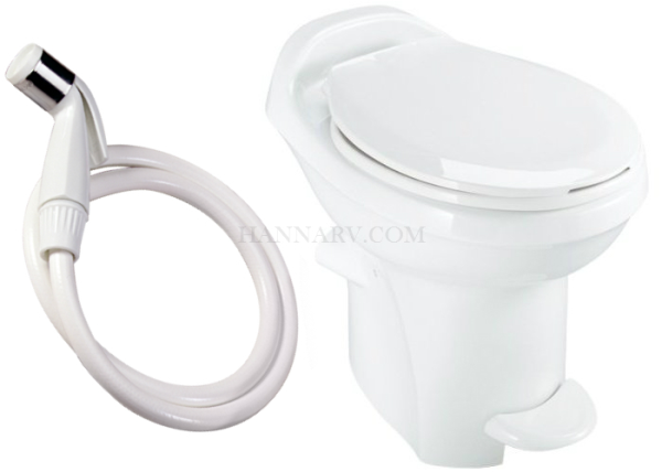 Thetford 34431 Aqua-Magic Style Plus Toilet High Profile White Color With Hand Sprayer