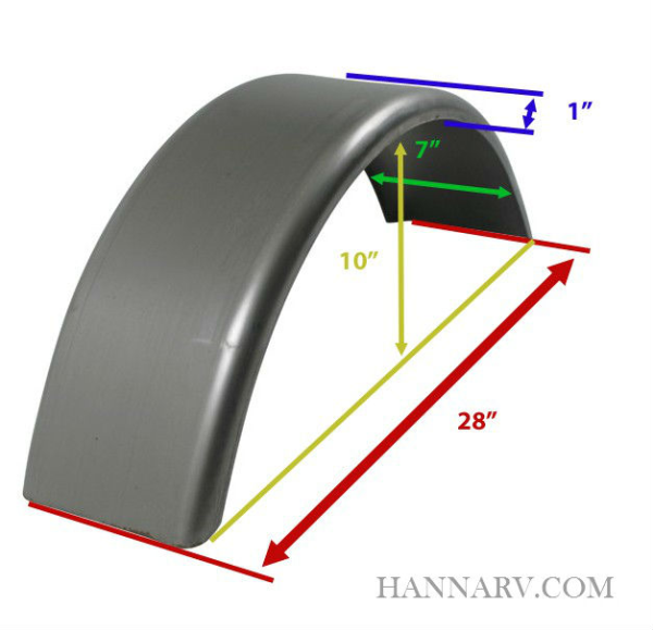 Trailer Fender F7X28-1RBS Single Axle - 1 Inch Radius - 7 Inches Wide x 28 Inches Long x 10 Inches H