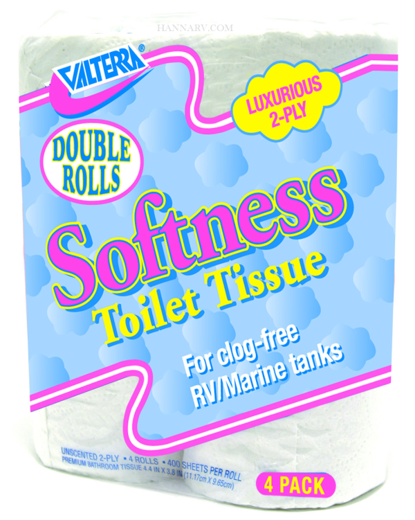 Valterra Products Inc Q23638 RV Softness Double Rolls 2 Ply 4 Pack Toilet Tissue