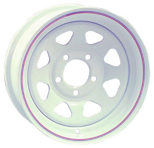 White Spoke Wheels - 17-384-12 - 15 Inch x 5 Inch - 5 on 5 - 1/2 Inch Stud - 3.19 Inch Pilot