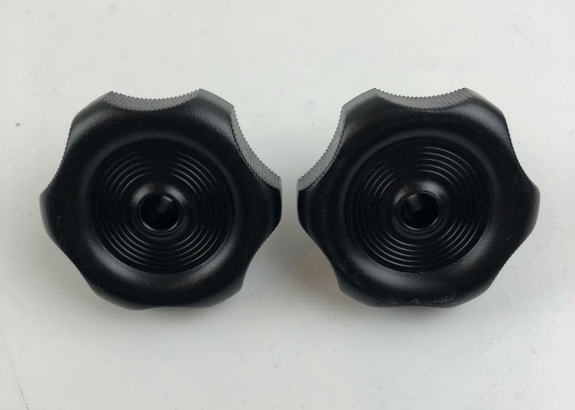 Black Round RV Window / Roof Vent Knob with Long Shaft - Pair