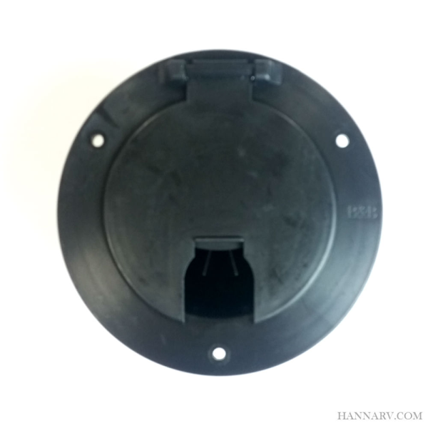 JR Products 541-3-A Deluxe Round Electric Cable Hatch with Back - Black