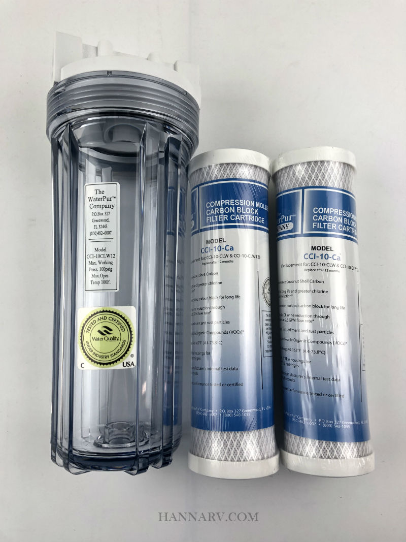 The Water Pur Company CCI-10CLW12 Water Filter Canister and CCI-10-Ca 10-inch Water Filter Combo Pack