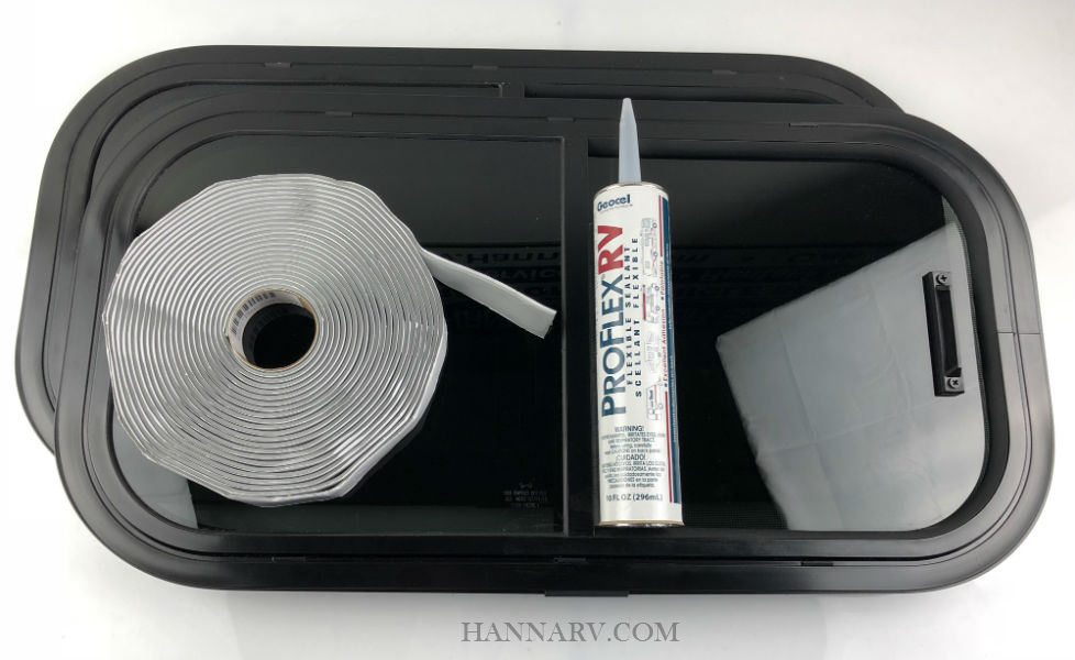 This trailer window kit includes a pair of windows, pair of clamp rings, butyl tape and sealant for easy installation