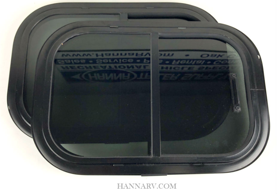 These 12-inch x 18-inch 90 degree radius horizontal trailer windows feature a black frame, tempered safety glass and an inside screen
