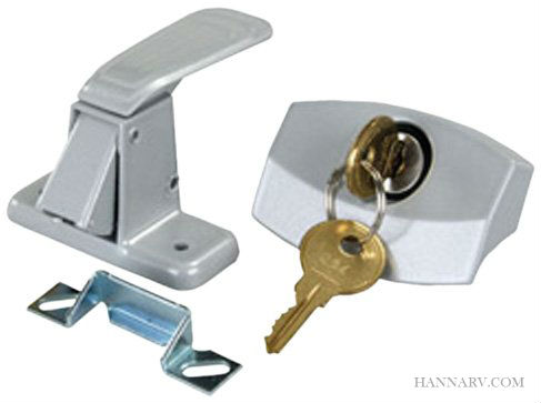 Universal Locking Camper Door Latch for Older Pop-up Campers - Silver