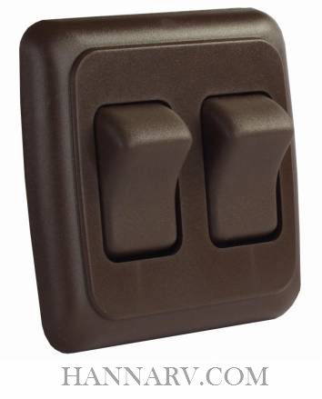 JR Products 12145 Double Rocker Switch Assembly with Bezel - Brown