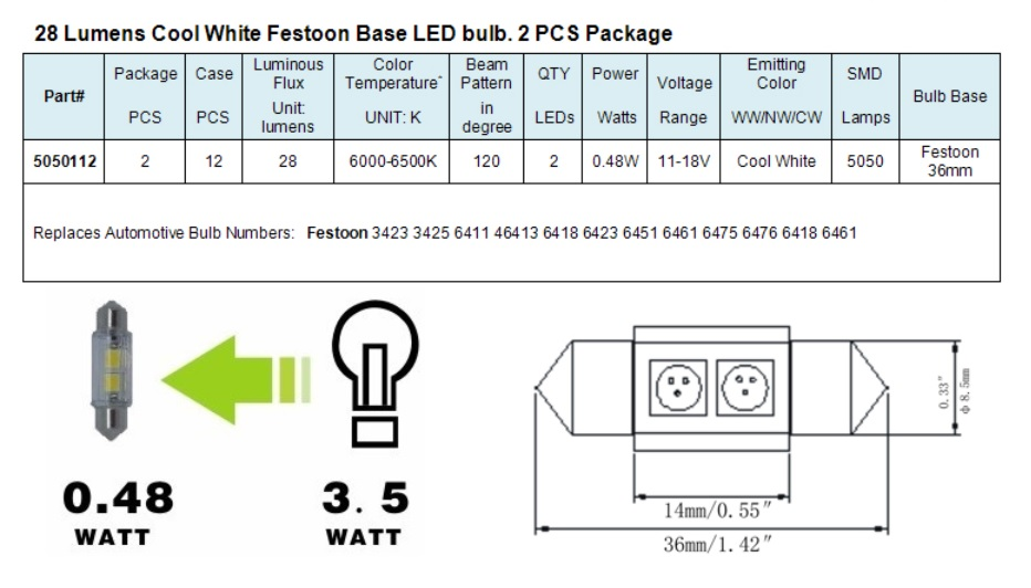 Green Longlife 5050112 Festoon 211 Base Rv Led Light Bulb Cool White 48 Watts 11 18 Volts