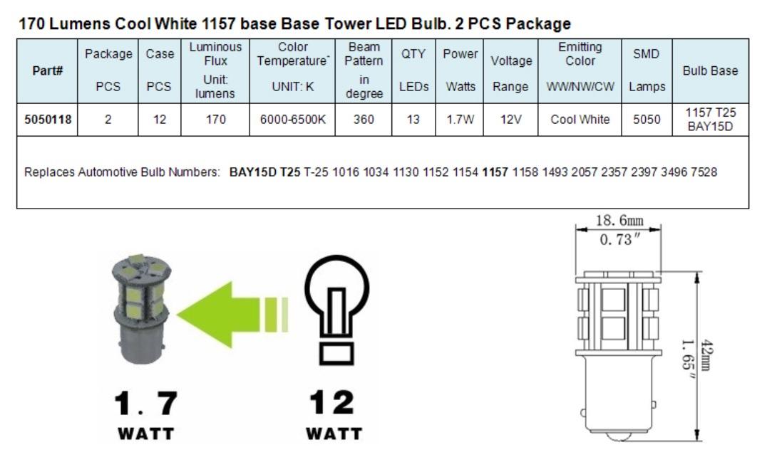 Green Longlife 5050118 1157 Ba15d Base Tower Rv Led Light